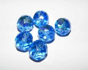 Blue AB Czech Glass Beads 12mm Faceted Round - 6