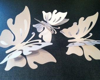3D butterfly wall art, wedding butterflies, white butterfly silhouettes, table butterflies