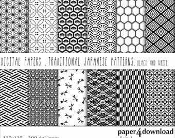 "Traditional Japanese Patterns - Black & White, Digital Paper, 12'x12"", 300 dpi JPG, Printable"