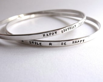 Bracelets in custom silver Bangle duo who meet through a serious message