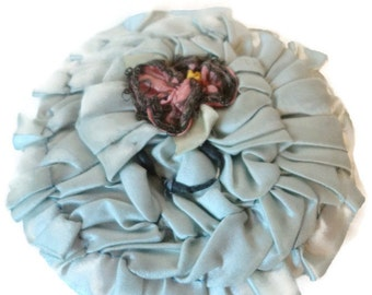 1920's French Silk Blue Ribbon Work Powder Puff Flapper Style