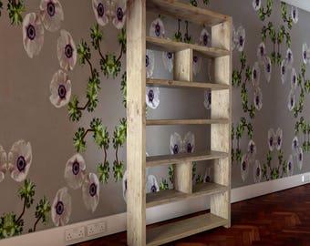 Reclaimed wooden bookcase. 31cm shelf spacing. 180cm x 90cm x 21cm.