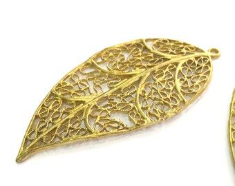 Raw Brass Leaf Pendant 42x40mm G3717