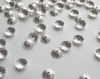 100 Scalloped ribbed bead caps shiny silver plated brass 7mm 5979FN