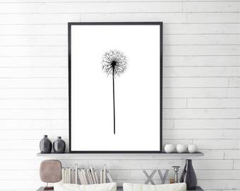 Dandelion Poster, Make a wish, Dandelion Wall Art, Digital Download, Instant download, Black and white, Scandinavian Poster, 4 sizes