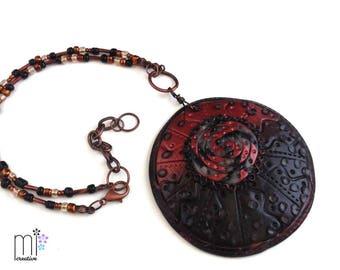 Black & Copper Ombre Circle Pendent Necklace