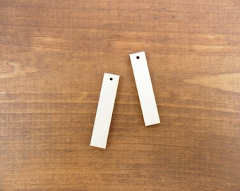 """Wood Rectangle / Bar Earring 1 3/4"""" (44.45mm) x 3/8"""" (9.5mm) x 1/8"""" (3mm) Laser Cut Jewelry Shapes 1 Hole - 25 Pieces"""