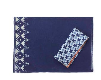 blue Placemat, indigo, navy, block printed, natural dye, handmade, Table Linen, Table setting, for the home decor - BORDER SAMPLE SALE