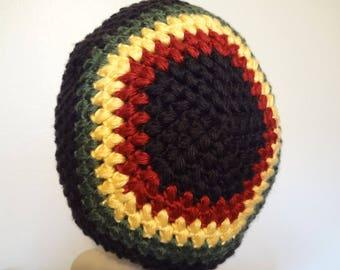 Rasta Hat - Dread Hat - Ready To Ship - Reggae - Slouchy Hat - Tam Hat - Crown - Crochet - Handmade