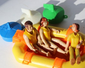 Vintage Fisher Price Adventure People Rafting Toy 1970's Scuba Divers and Raft Fisher Price Vintage Toys Zodiac Boat Coast Guard Bath Toys