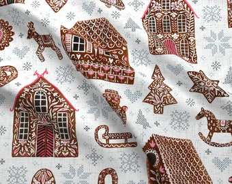 Gingerbread Fabric - Swedish Gingerbread Cross Stitches By Rebecca Reck Art - Christmas Holiday Cotton Fabric By The Yard With Spoonflower