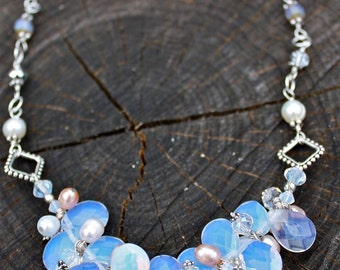 Droplets of Moonlight Beaded Necklace - opalite briolettes, Pearls- Semi-precious stones - sterling silver - Unique boho beach style