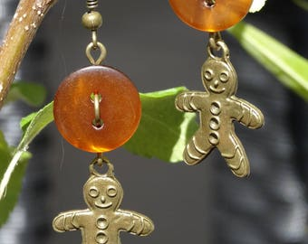 Caramel - Earrings buttons and charms