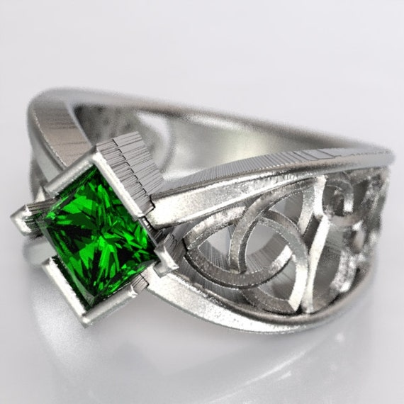 Celtic Wedding Ring With Square Princess Cut Emerald and Trinity Knotwork Design in Sterling Silver, Made in Your Size CR-1025