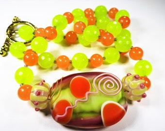 Handmade Lampwork Glass Necklace~Lamp Work Glass Necklace~Handmade Necklace~Beaded Necklace~Summer Necklace!Orange and Yellow Necklace~OOAK