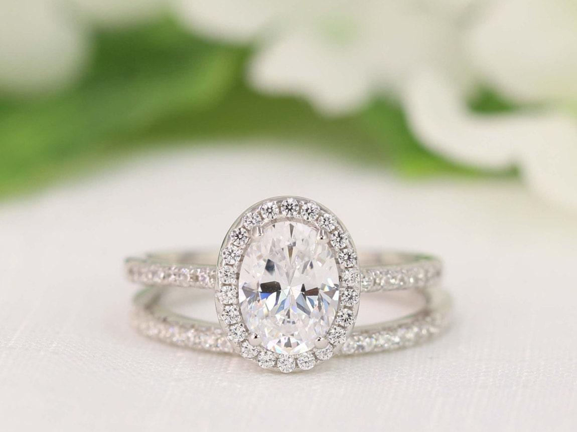 20 carat halo wedding ring set oval cut ring halo zoom junglespirit Images