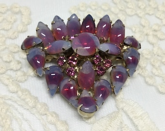 Vintage Pink and Opalescent Givre Art Glass and Pink Rhinestones Brooch Pin