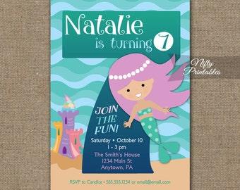 7 year old invite etsy mermaid birthday invitation 7th birthday invitations girls 7th birthday party invites printable 7 stopboris Choice Image