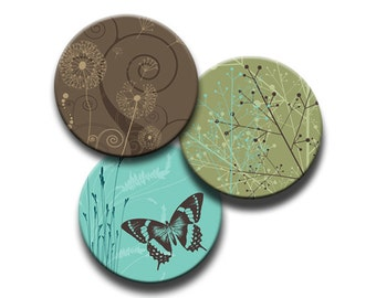 Round Digital Butterfly Flowers Spirals Green, Brown and Aqua 1 Inch, 1.25 Inch, 1.313 Inch  and 1.5 Inch Circles Printable INSTANT DOWNLOAD