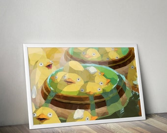 Duck, Duck, Bath // Studio Ghibli and Spirited Away Inspired Low Poly Illustration // Vector Art and Etsy Geek Print