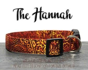 Henna Batik Dog Collar 1 Inch Wide Large Size Ready to Ship