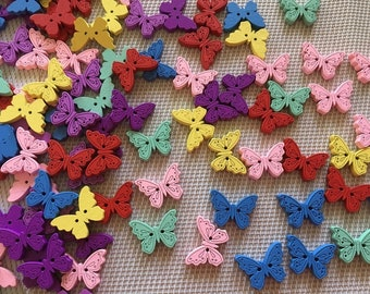 Butterflies Buttons Set of 12 Wooden Buttons for Sewing Crochet Knitting Scrapbooking Buttons for Baby
