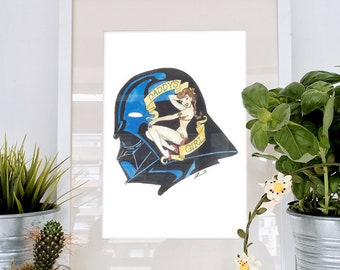Sailor Jerry inspired Tattoo style Darth Vader and Princess Leia illustration, an original watercolour. A Star Wars original trilogy parody