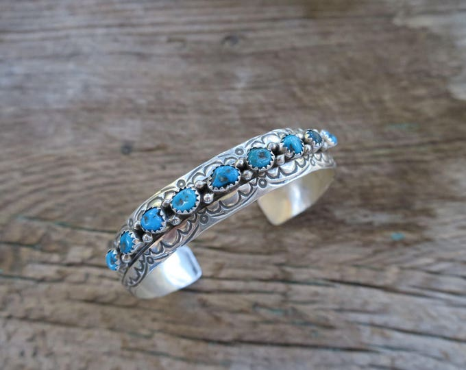 Vintage Domed Stamped Turquoise Row Cuff