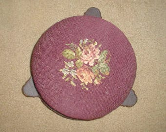 Antique Victorian needlepoint foot stool otaman walnut with flowers