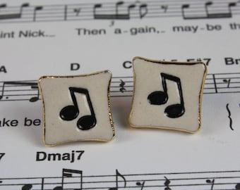 Music Note Porcelain Ceramic Earrings