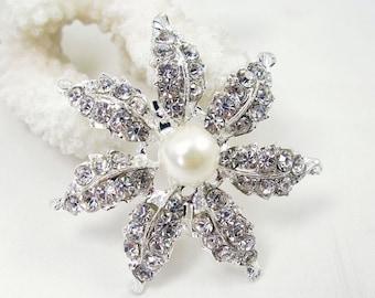1x Crystal Rhinestone Brooch Pearl Brooch Wedding Brooch Wedding Favors Wedding Bouquet Brooch Wedding Invitation Cake Decoration Hair Clip