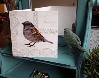 Sparrow greeting card 14 cm square