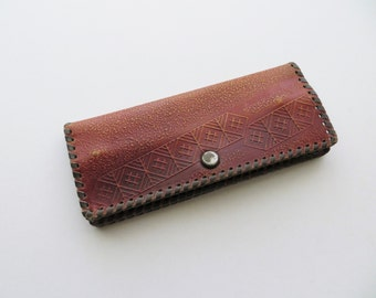 70s Tooled Leather Wallet Geometric Design Textured Hide Burnt Caramel Brown Checkbook Card Holder Coin Purse