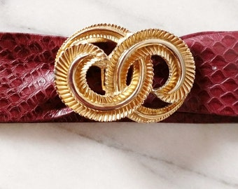 Vintage Mimi Di N Gold Infinity Belt Buckle with Maroon Leather Belt