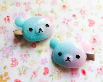 Kawaii Bear Hair Clips, Kawaii Hair Clips, Hairclips, Galaxy, Bear, Pastel, Fairy Kei, Cute Hair Clips, Teen / Girls Gift