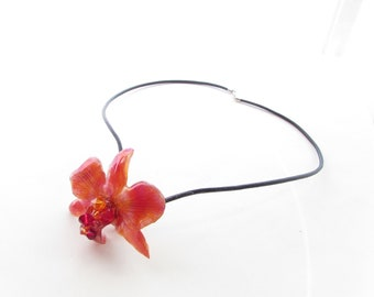 Real Flower Preserved Dendrobium Orchid Choker, Handmade Jewellery