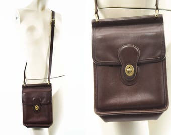 Vintage 1990's Small Coach Brown Leather Willis Bag/Purse/Satchel