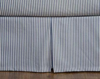 Ticking Stripe Bed Skirt - black, brown, grey, navy, red stripe, box pleat style choose drop length