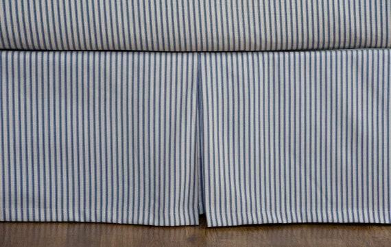 Ticking Stripe Bed Skirt Black Brown Grey Navy Red