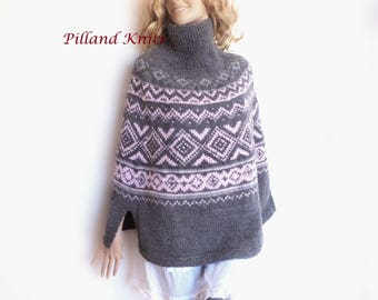 Women's Knitwear Hand Knit Poncho Natural Fibers Knit Sweater Fire Isle Cape Alpaca Wool Sweater Handmade Pilland Knits Custom colors