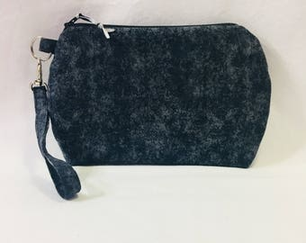 Black and Gray Mottled Cotton ~ Kendall Wristlet Free Shipping in the US