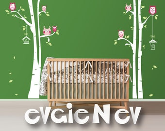 Nursery Birch Trees Decal with Owls - White Birches Wall Decal for kids, Large 3 Birch Trees with 7 Cute Owls and Birdhouses -  LTROWLS30