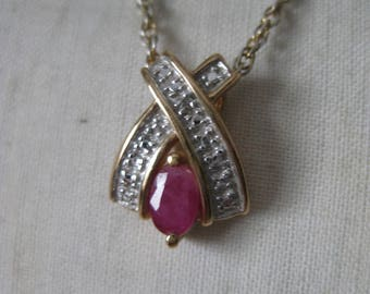 Ruby Red Clear Stone Gold Sterling Necklace Vermeil Vintage 925 Silver Pendant