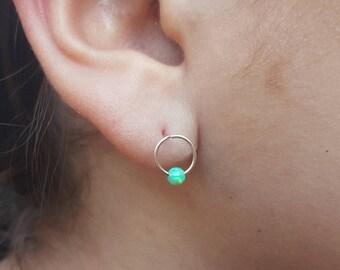 L-Shape Hoop Earrings,ealobe earrings,hoop earrings 22gauge,opal earrings,piercing hoop earrings,hoop earrings,silver  hoop earrings