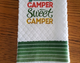 Embroidery kitchen towel for Camping lovers