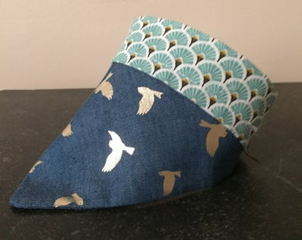 Denim Silver Bird strap on bandana