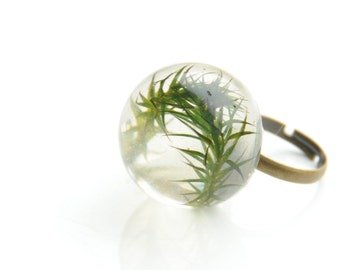 Resin Ring - Resin Moss Ring - Resin Jewelry - Real Moss Jewelry - Jewelry Made with Real Moss