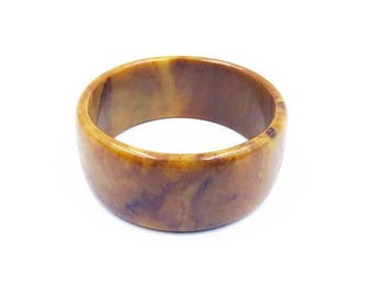 Wide Yellow Brown Bakelite Bangle Bracelet, Mississippi Mud, Vintage Bracelet, Bangle Bracelet, Bakelite Bangle, Vintage Jewelry