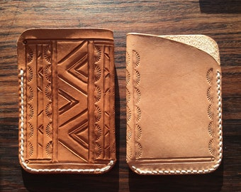Hand Tooled / Leather / Card Holder / Mini Wallet