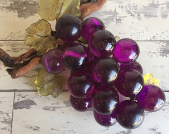Vintage Purple Lucite Grape Cluster - With Lucite Grape Leaves - Driftwood Stem